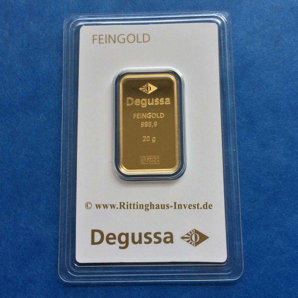 20 g Goldbarren Degussa 999,9 Fein gold im Blister