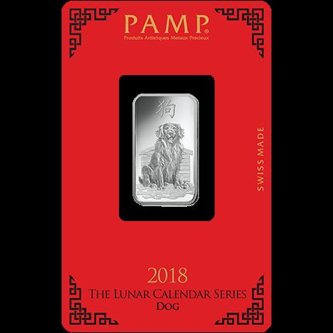 Silberbarren 10 g Lunar Hund Pamp Suisse 999 Feinsilber Blister Echtheitszertifikat