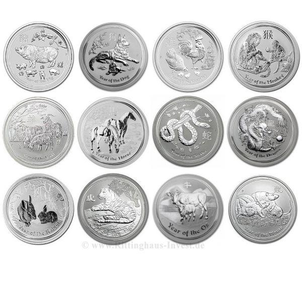 Lunar Ii Complete Set 12 X 1oz 2008 2019 Silver Coins