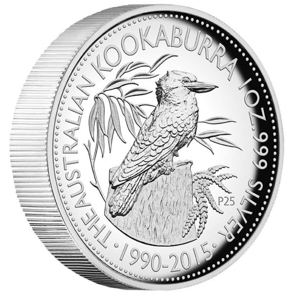 Silbermünze Kookaburra Jubiläum 25 Jahre High Relief Münze 1Oz Box Coa 25 Years anniversary