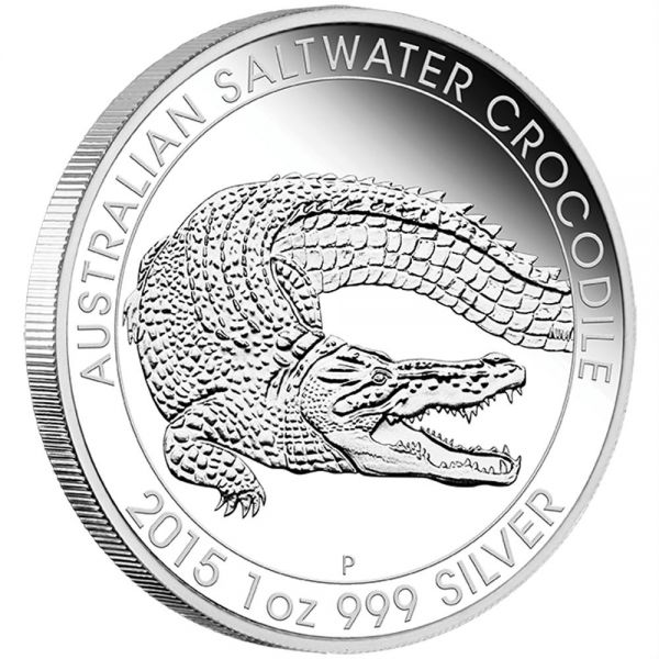 Silbermünze PP Salzwasserkrokodil polierte Platte 1Oz proof crocodile