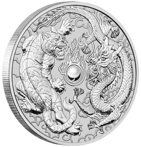 Dragon & Tiger Silbermünze 1oz Drache & Tiger 1 Unze 9999 Silber