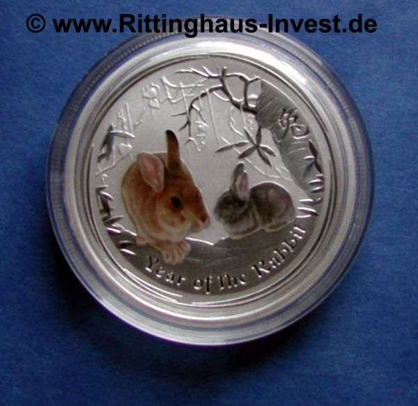 Lunar 2 Hase farbig coloriert year of the rabbit coloured Perth Mint
