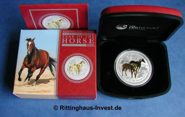 Lunar 2 Pferd vergoldet gilded Perth Mint horse 2014 box