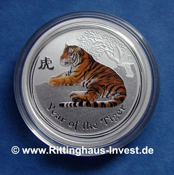 Silbermünze Lunar II Tiger farbig coloriert Perth Mint coloured 2 Oz Farbe Silber