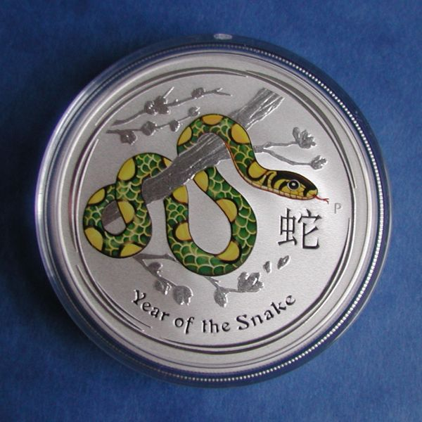 the Perth Mint Lunar 2 Schlange snake farbig coloured coloriert