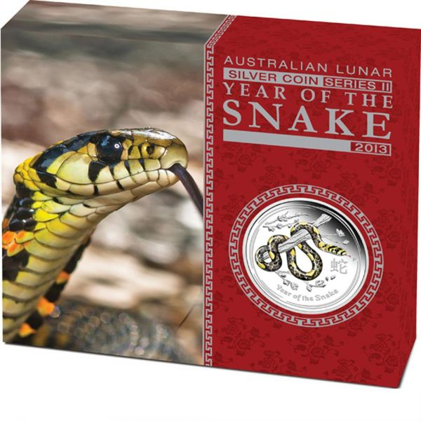 Lunar II schlange proof coloured polierte Platte farbig year of the snake the perth mint