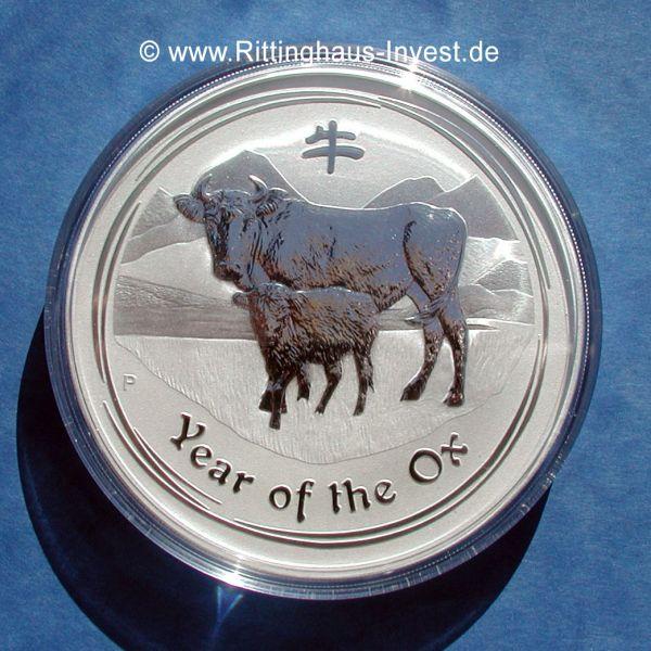 Lunar Ii Ochse 10 Oz Silberm 252 Nze 2009 Ox Silber Silver Coin