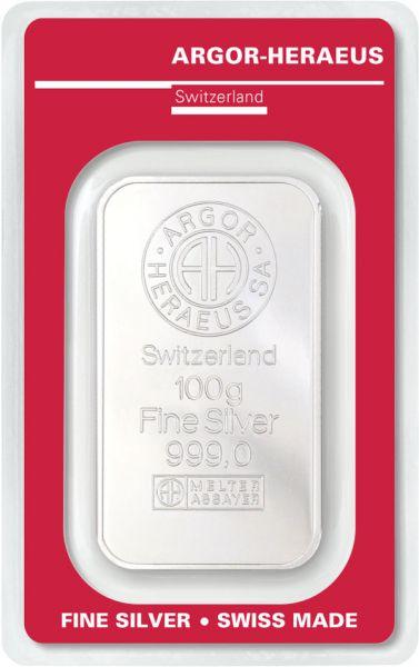 Silberbarren 100 Gramm Argor Heraeus 999,9 Feinsilber im Blister