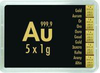 5x1g Combibar teilbare Goldbarren Goldtafel 5 x 1g