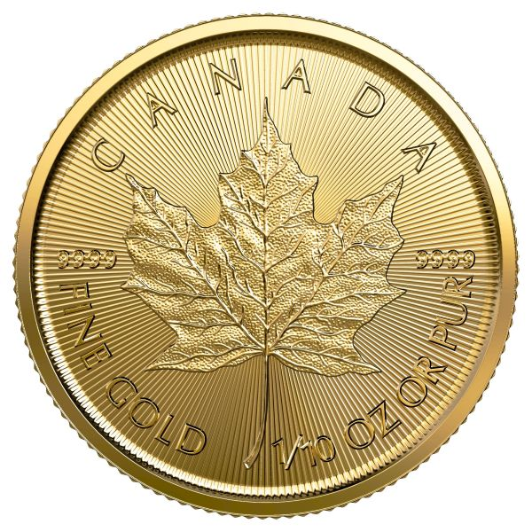 Goldmünze Maple Leaf 2019 1/10 oz zentel Unze 5 Dollars