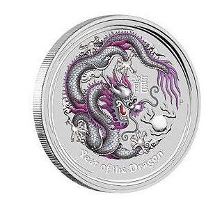 the Perth Mint Lunar 2 Drache dragon farbig coloured silver 2012 1$