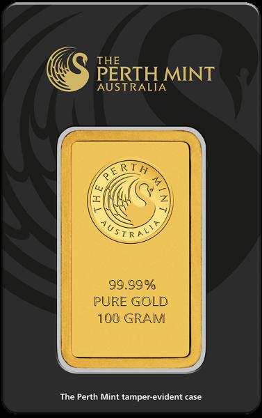 Känguru Goldbarren 100g Perth Mint Kangaroo im Blister verschweißt