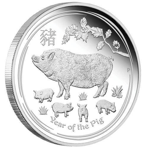 halbe Unze Lunar II Schwein 2019 Silbermünze 1/2oz polierte Platte Proof