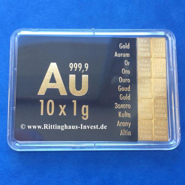 Combibar 10 x 1 g Goldbarren Tafelbarren Valcambi