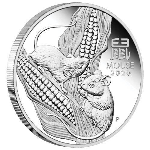 Lunar III Maus 2020 polierte Platte halbe Unze Silbermünze