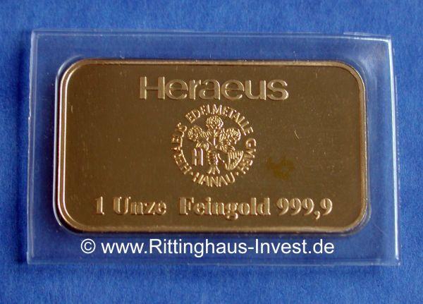 Heraeus 1 Unze Feingold 999,9 Goldbarren 1Oz 31,1g