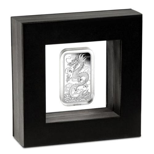 Silbermünzbarren Drache rectangular Dragon PROOF polierte Platte im Schweberahmen Silber