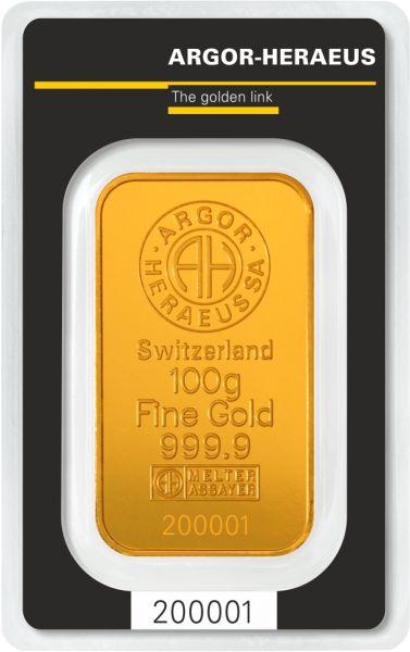 Goldbarren Argor-Heraeus 100g im Blister 999.9 Gold bar