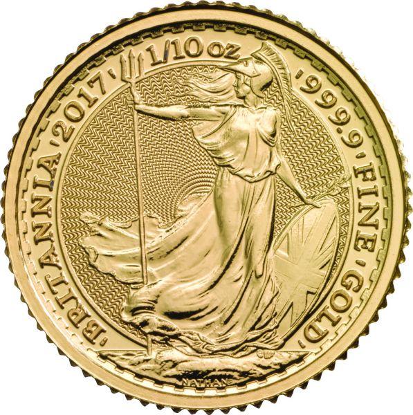 Goldmünze Britannia 1/10oz 2017 zentel Unze Gold