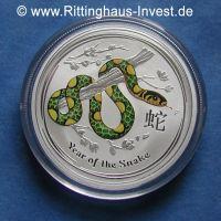 Lunar II Schlange snake 2013 farbig farbe coloriert color coloured silver coin silbermünze