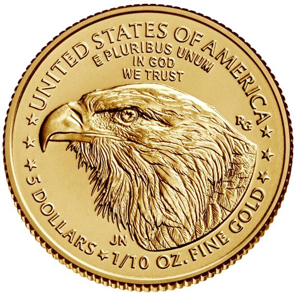 Goldmünze American Eagle 1/10 oz 2021 zentel Unze Gold neues Desing Typ 2