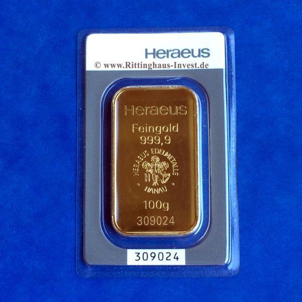 Heraeus Goldbarren 100g geprägt im Blister mit Echtheitszertifikat