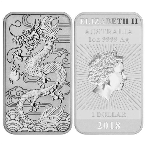 Silbermünzbarren Drache 1oz Perth Mint 2018 1oz 9999 Silber