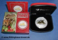 Lunar 2 Maus vergoldet gilded Perth Mint mouse 2008 box