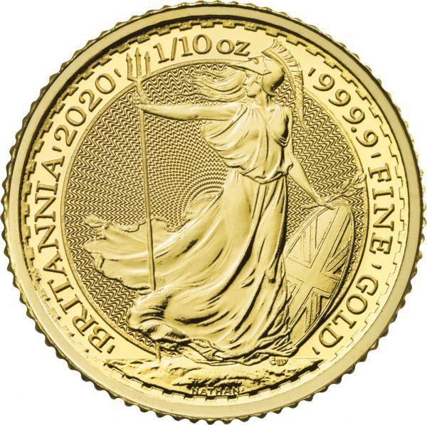 Britannia 2020 1/10oz Goldmünze zehntel Unze Gold