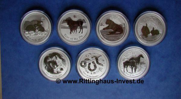 Lunar II Set 7 x 1Oz Silbermünzen 2008-2014 silver coins