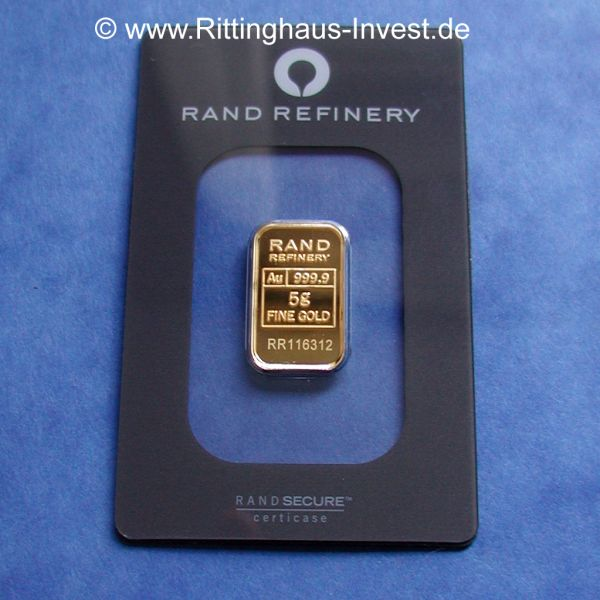 Rand Refinery 5g Goldbarren Elefant Elephant Loxodonta bar
