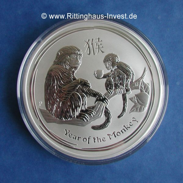 2 Unzen Silbermünze Affe Year of the monkey 2016 999 Silber silver