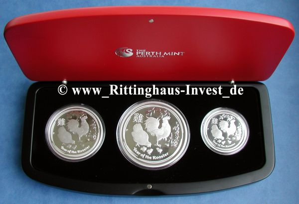 Three-Coin Set Lunar II Hahn 3 Silbermünzen Set polierte Platte PP Proof 2017
