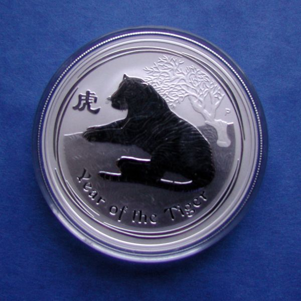 Lunar 2 II Tiger 1Oz Silbermünze 2010 year of the tiger the perth mint australia