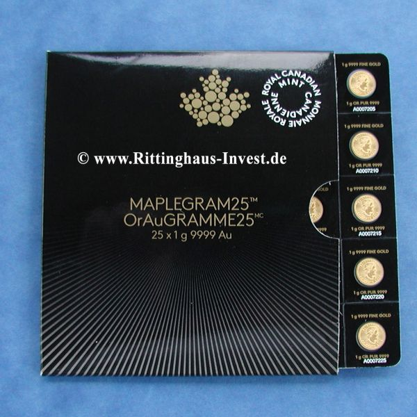 Maplegram25 OrAuGramme25 25 x Maple Leaf 1 Gramm Goldmünzen