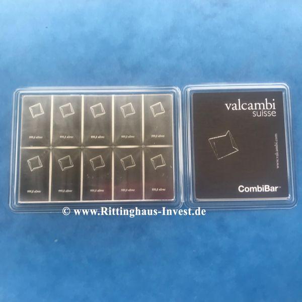 Combibar Valcambi Suisse 10x10g Silberbarren Silbertafel Tafelbarren teilbar