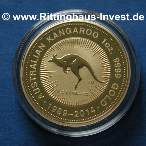 Australian Kangaroo 1oz 9999 Gold 1989-2014 Tribute Jubilaeum 25 Jahre