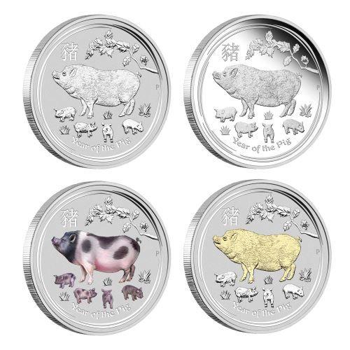 Lunar II Schwein 2019 Typeset Perth Mint Set Pig Silbermmünzen
