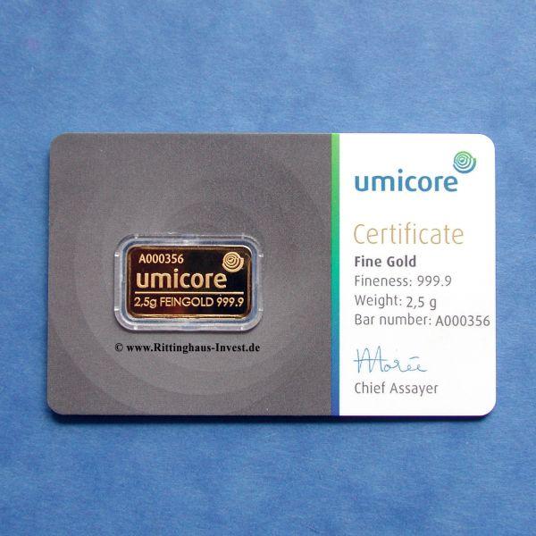 Goldbarren Umicore 2,5 Gramm Gold im Blister mit Echtheitszertifikat