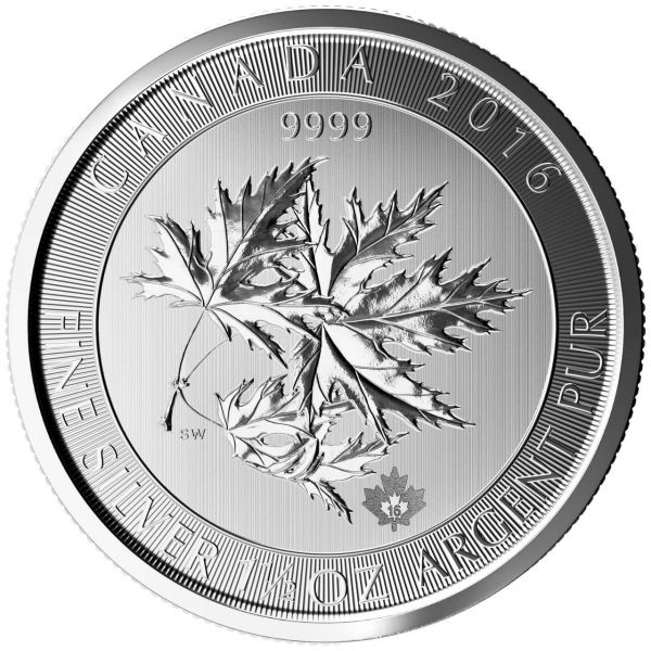 Multi Maple Leaf Superleaf 2016 Silbermünze 1.5 Oz 1,5 Unzen