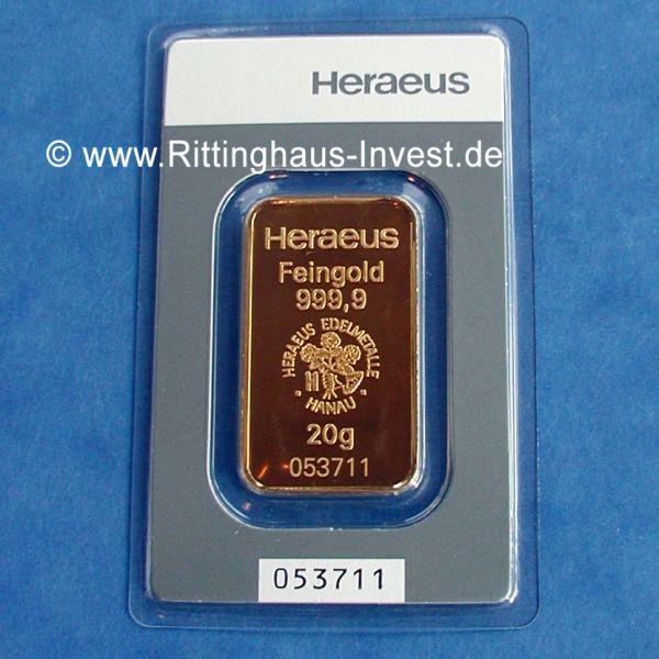 Heraeus Feingold 999,9 20g Goldbarren 20 Gramm Gold Barren goldbar