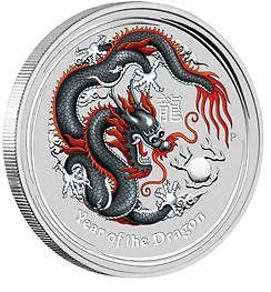 Lunar II Drache 2012 Schwarz Black World Money Fair Berlin the Perth Mint dragon black 1$