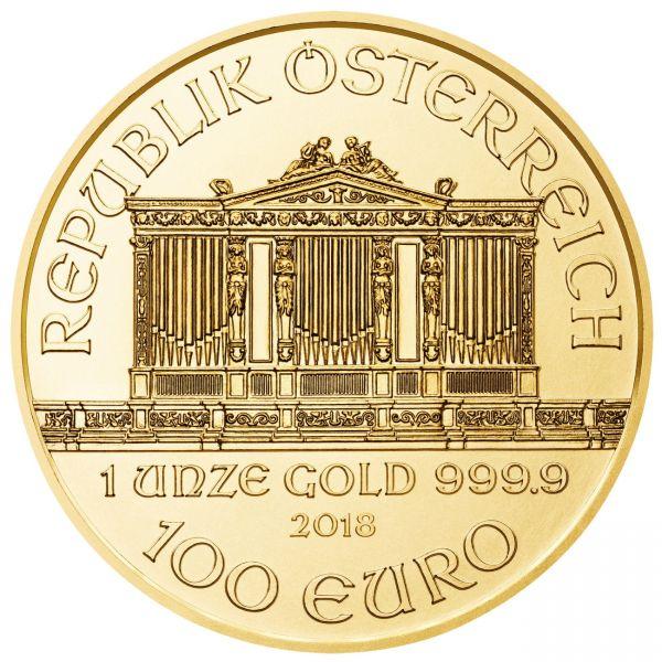 1 Unze Wiener Philharmoniker 2018 Gold Vienna Philharmonic 1 oz 100 €