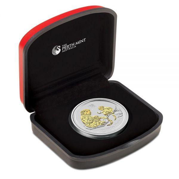 Silbermünze Lunar II Affe 1 Oz Silber gilded + Box + COA vergoldet mit Box und Zertifikat Monkey 1$