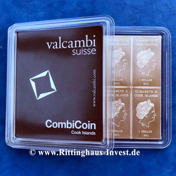 Cook Islands Silbermünztafel 10x10g Tafelbarren 10 x 10g Valcambi Suisse Münzbarren