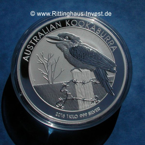 Australian Kookaburra 2016 1Kilo 999 Silbermünze silber silver 1kg