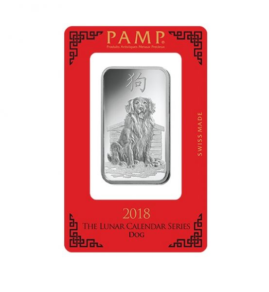 Silberbarren 1 oz Lunar Hund Pamp Suisse im Blister