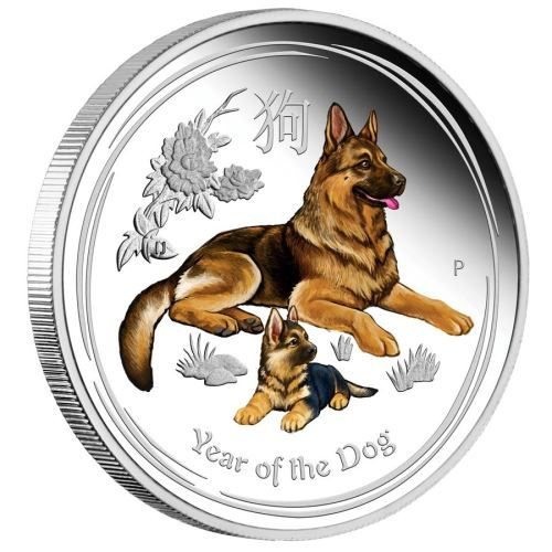 Silbermünze Lunar II Hund 2018 polierte Platte Farbe farbig coloriert Silber