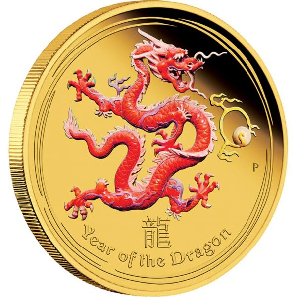 Gold Coin Lunar Ii Dragon 2012 Proof Coloured Edition 1 4 Oz